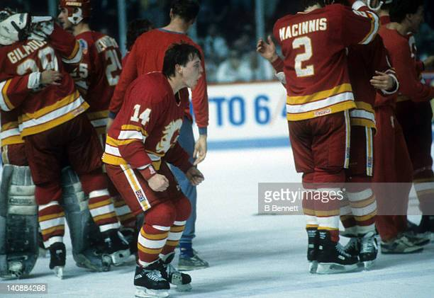Theoren Fleury of the Calgary Flames celebrates on the ice after the Flames defeated the Montreal Canadiens in Game 6 of the 1989 Stanley Cup Finals...