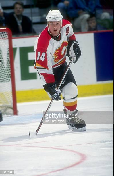 Theoren Fleury of the Calgary Flames in action during a game at the Canadien Airlines Saddledome in Calgary Canada Mandatory Credit Ian Tomlinson...