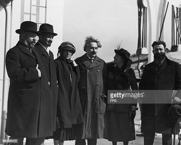 Theoretical physicist Albert Einstein his wife Elsa and Zionist leaders on their arrival in New York City on board the Rotterdam April 1929 Left to...