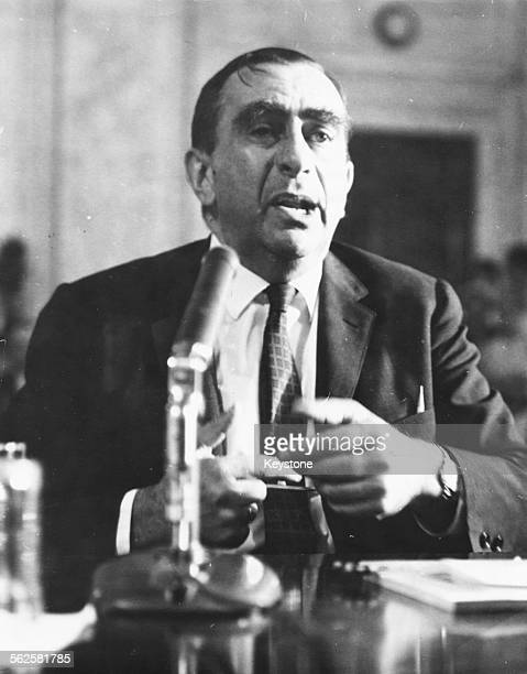 Theoretical physicist Edward Teller the so called 'father of the Hydrogen Bomb' testifying against the Nuclear Test Ban Treaty in the Senate Foreign...