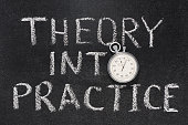 theory into practice phrase handwritten on chalkboard with vintage precise stopwatch used instead of O