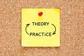 Theory Practice arrows concept written on yellow sticky note pinned on bulletin cork board.
