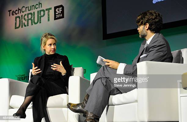 Theranos Chairman CEO and Founder Elizabeth Holmes and TechCrunch Writer and Moderator Jonathan Shieber speak onstage at TechCrunch Disrupt at Pier...
