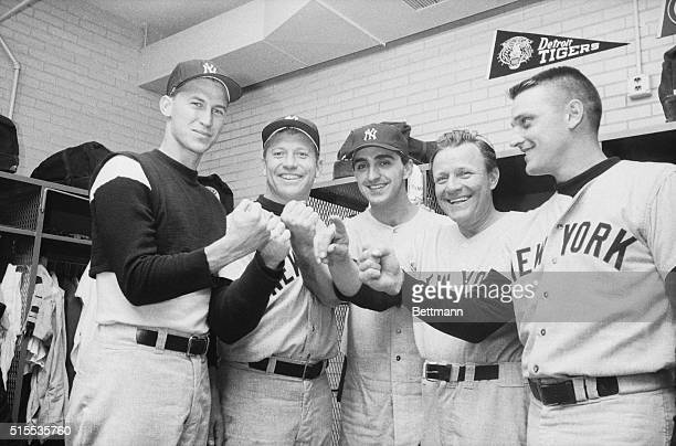 There may be too many facts in this picture to please the logically minded but the faces are all right just the same New York Yankee slugger Mickey...