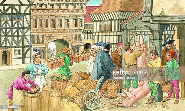 There were many small industries in towns places for shops and where goods could be traded This scene is of a German town in the early 16th century
