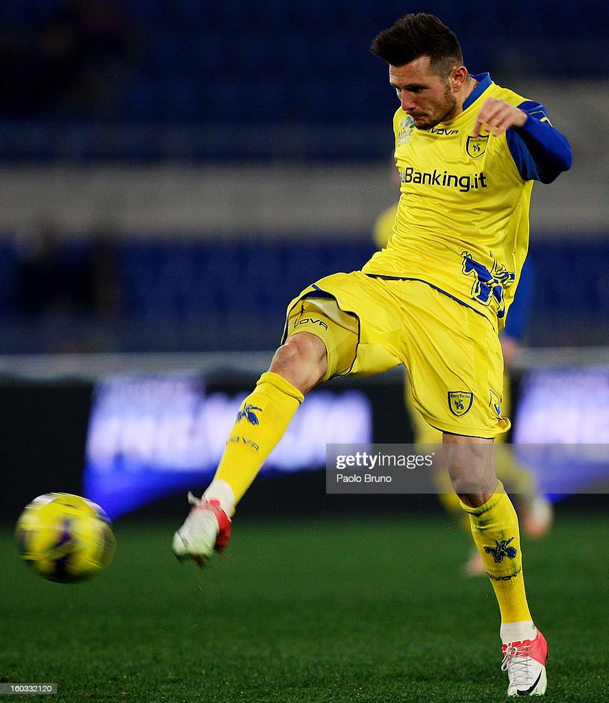 Thereau Cyril of AC Chievo Verona in action during the Serie A match between S.S. Lazio and AC Chievo Verona at Stadio Olimpico on January 26, 2013 in Rome, Italy.