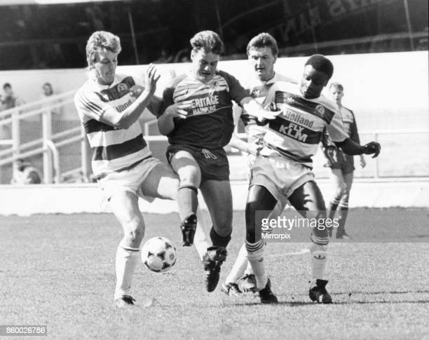 There's no way through for Middlesbrough's Gary Hamilton against Queens Park Rangers Alan McDonald Nigel Spackman and Paul Parker 15th April 1989