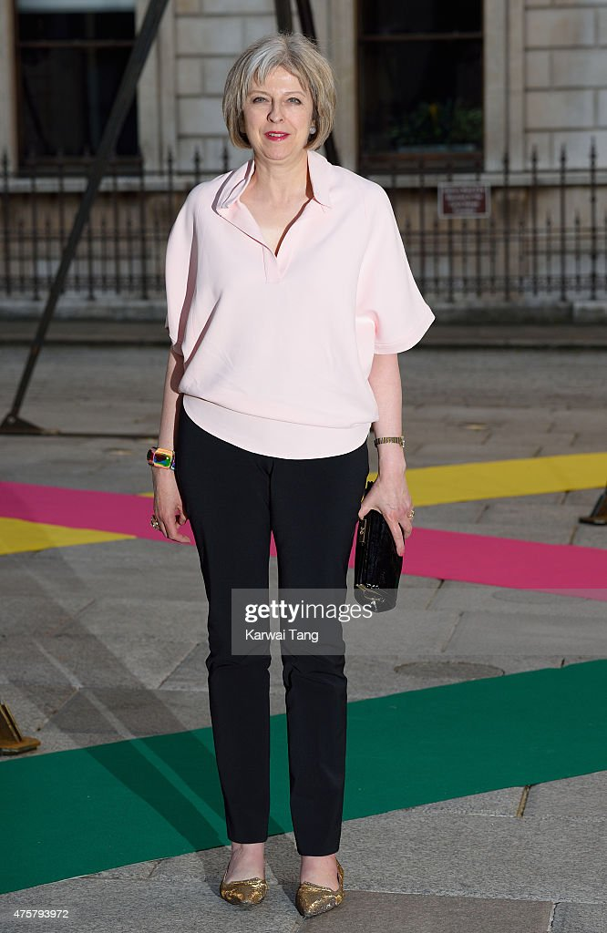 <a gi-track='captionPersonalityLinkClicked' href=/galleries/search?phrase=Theresa+May&family=editorial&specificpeople=832274 ng-click='$event.stopPropagation()'>Theresa May</a> attends the Royal Academy of Arts Summer Exhibition at the Royal Academy on June 3, 2015 in London, England.