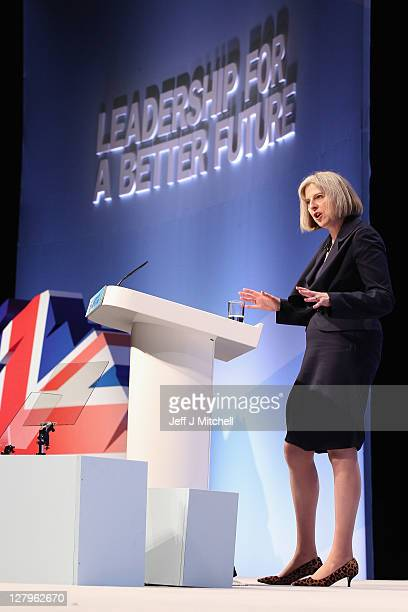 Theresa May Home Secretary and Minister for Women and Equalities addresses delegates during the Conservative Party Conference at Manchester Central...
