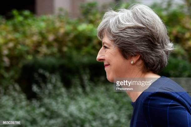 Theresa May pictured arriving at the European Summit on Ocotber 19 2017 in Brussels Belgium