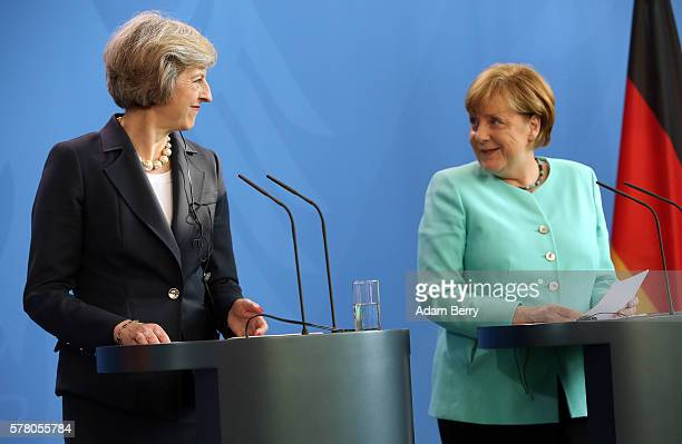 Theresa May Prime Minister of the United Kingdom attends a press conference with German Chancellor Angela Merkel on July 20 2016 in Berlin Germany...
