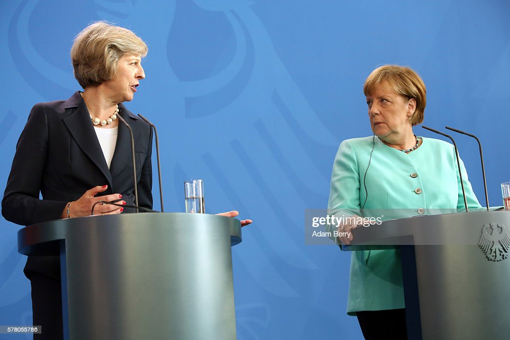 Theresa May, Prime Minister of the United Kingdom (L), attends a press conference with German Chancellor Angela Merkel on July 20, 2016 in Berlin, Germany. The two leaders discussed their upcoming cooperation together as well as the United Kingdom's withdrawing of its membership from the European Union, known as Brexit.
