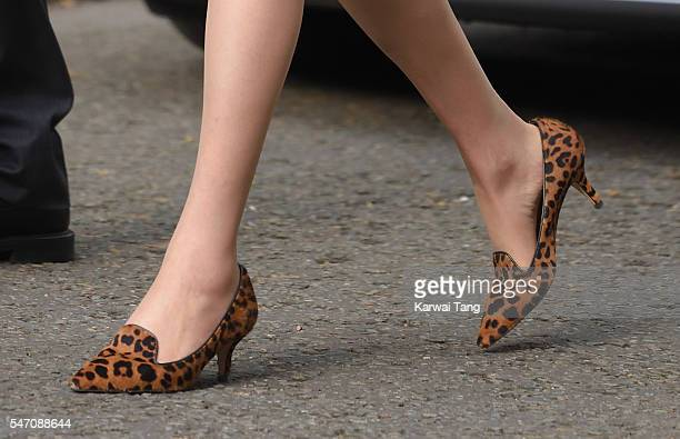 Theresa May shoe detail enters 10 Downing Street on July 13 2016 in London England Former Home Secretary Theresa May becomes the UK's second female...