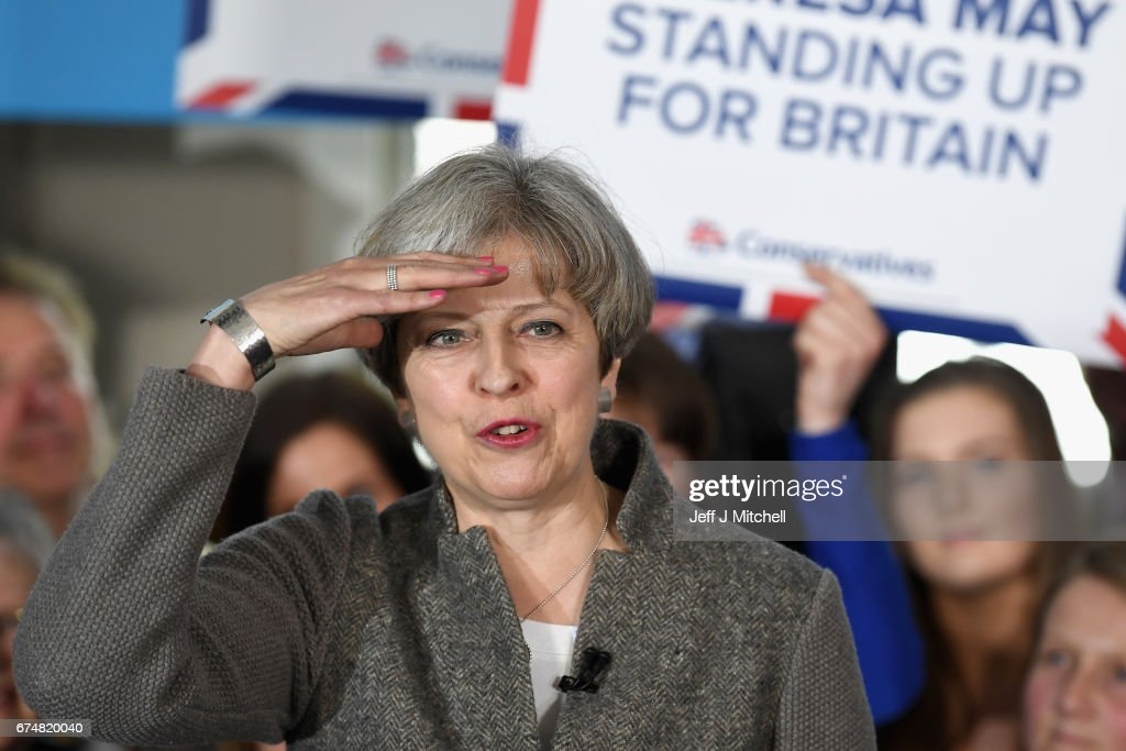 Theresa May speaks at an election campaign rally on April 29, 2017 in Banchory, Scotland. The Prime Minister is campaigning in Scotland with the message that a vote for the Conservatives would strengthen the economy and the UK's hand in Brexit negotiations. The UK goes to the polls on June 8.