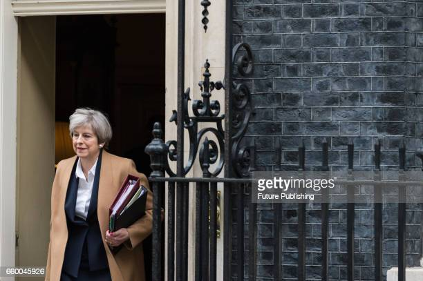 Theresa May the British Prime Minister leaves 10 Downing Street for Parliament where she is due to announce invoking of Article 50 of the Lisbon...