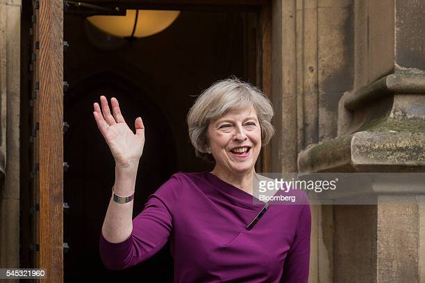 Theresa May UK home secretary gestures to members of the media after it was announced she won the secondround ballot of Conservative Party lawmakers...