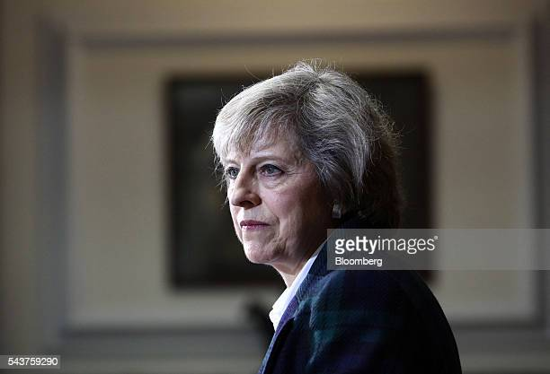 Theresa May UK home secretary looks on during a news conference to announce her Conservative party leadership bid in London UK on Thursday June 30...