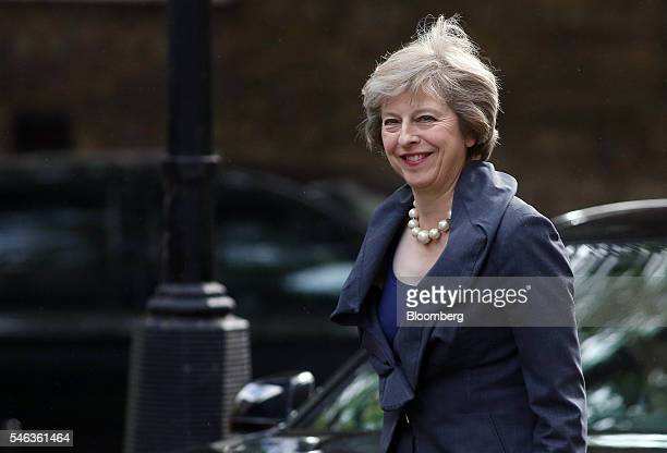 Theresa May UK home secretary reacts as she arrives for a cabinet meeting in 10 Downing Street in London UK on Tuesday July 12 2016 Theresa May now...