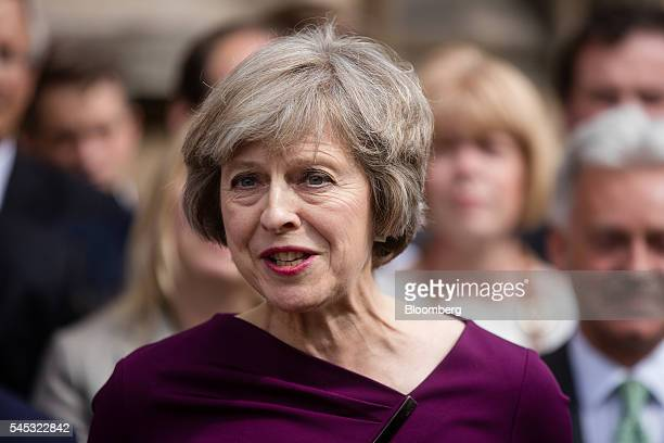Theresa May UK home secretary speaks to members of the media after it was announced she won the secondround ballot of Conservative Party lawmakers...
