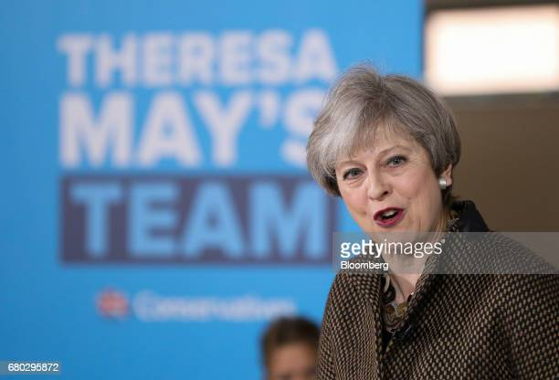 Theresa May UK prime minister and leader of the Conservative Party speaks at a UK general election campaign event in Harrow in London UK on Monday...