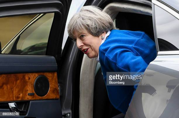 Theresa May UK prime minister and leader of the Conservative Party arrives at Grand Station for a generalelection campaign event in Wolverhampton UK...