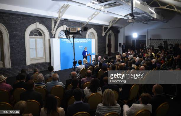 Theresa May UK prime minister and leader of the Conservative Party speaks during a general election campaign event in Wolverhampton UK on Tuesday May...