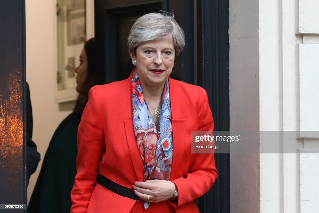 U.K. Prime Minister And Leader Of The Conservative Party Theresa May Reaction Following The Results Of General Election : News Photo