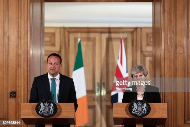 Theresa May UK prime minister and Leo Varadkar Ireland's prime minister pause during a joint news conference inside number 10 Downing Street in...