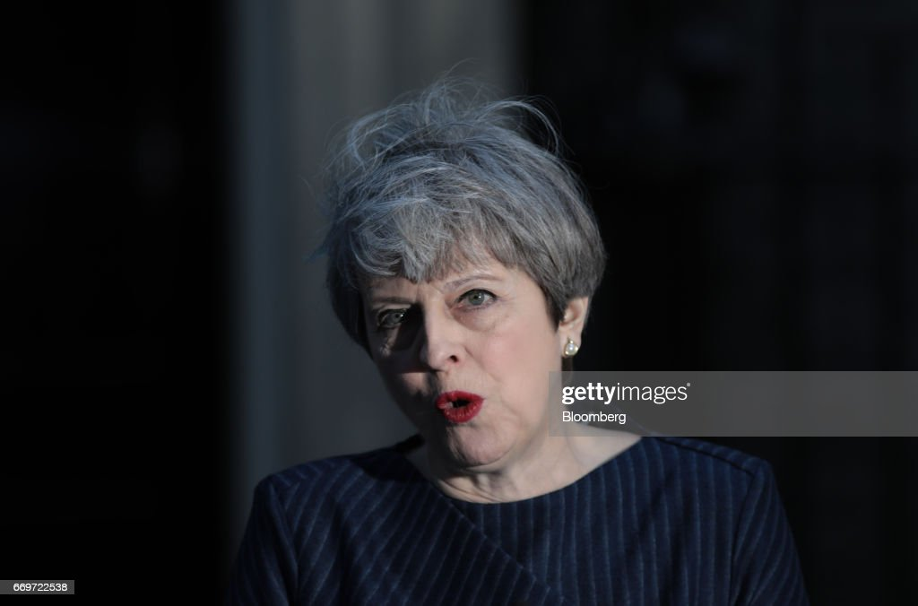 Theresa May, U.K. prime minister, announces a general election outside 10 Downing Street in London, U.K., on Tuesday, April 18, 2017. May said she will seek an early election on June 8, in an unexpected gamble aimed at strengthening her hand going into talks on leaving the European Union. Photographer: Simon Dawson/Bloomberg via Getty Images