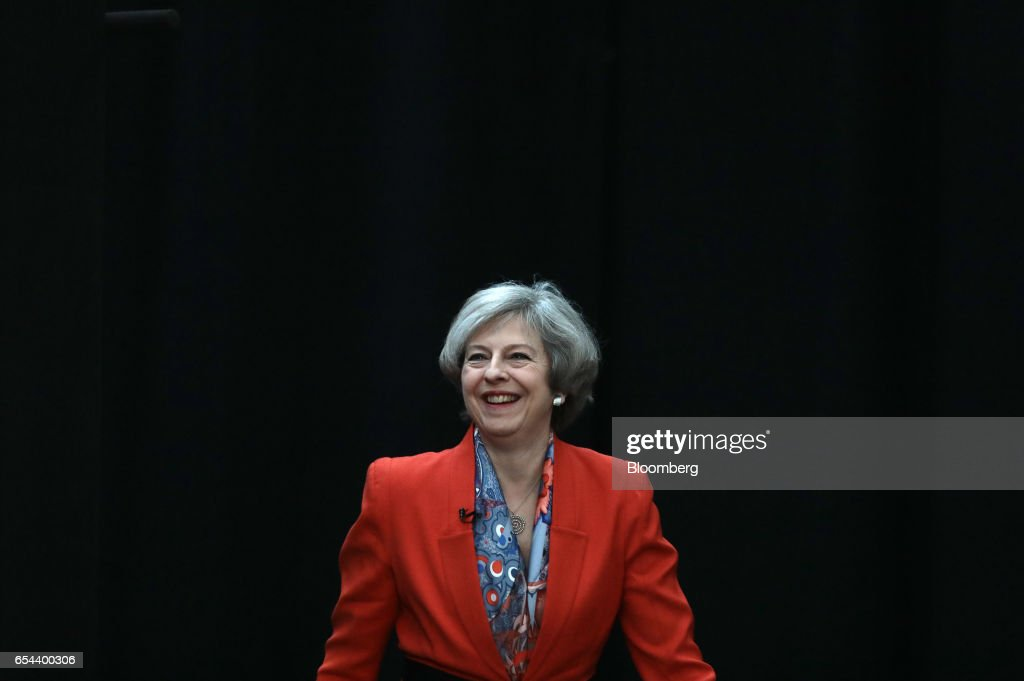 Theresa May, U.K. prime minister, arrives at the Conservative Party's annual Spring Forum in Cardiff, U.K., on Friday, March 17, 2017. May will pledge to forge a closer union within the U.K. in a rebuke to Scottish National Party leader Nicola Sturgeon, who started the week calling for a new independence referendum for Scotland. Photographer: Simon Dawson/Bloomberg via Getty Images