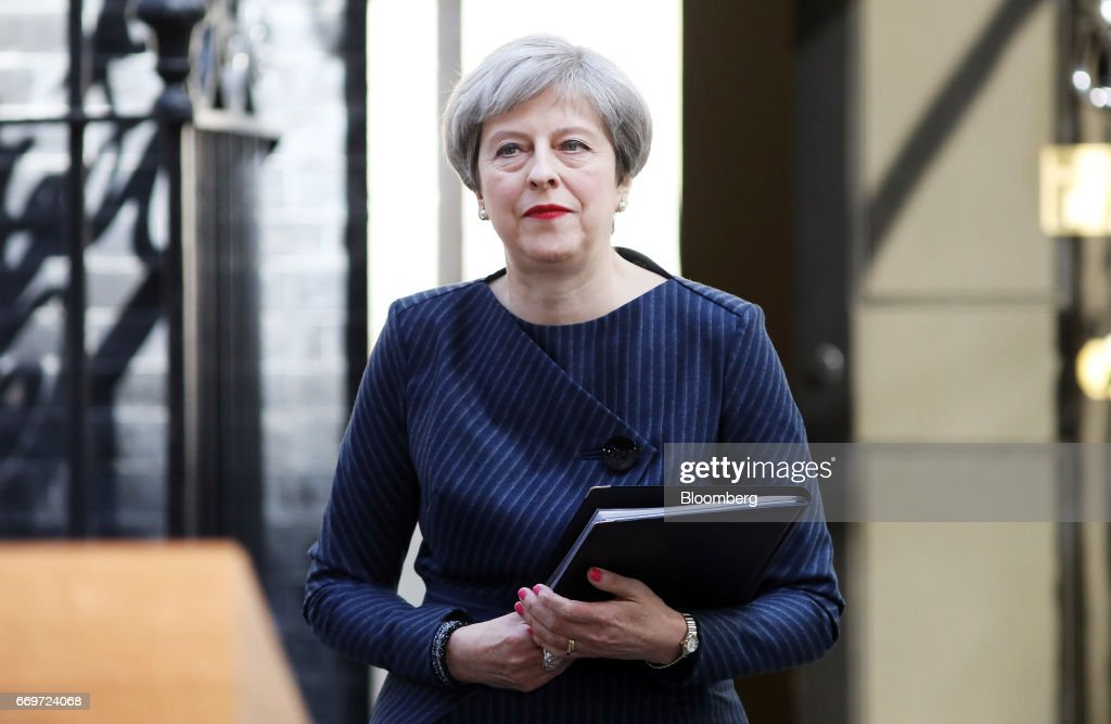 Theresa May, U.K. prime minister, arrives to announce a general election outside 10 Downing Street in London, U.K., on Tuesday, April 18, 2017. May said she will seek an early election on June 8, in an unexpected gamble aimed at strengthening her hand going into talks on leaving the European Union. Photographer: Chris Ratcliffe/Bloomberg via Getty Images