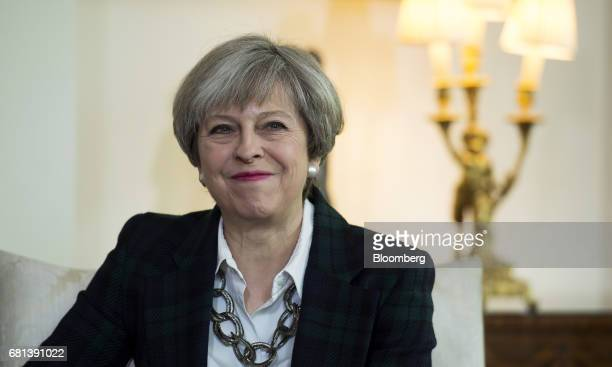 Theresa May UK prime minister attends a meeting with North Atlantic Treaty Organization Secretary General Jens Stoltenberg inside number 10 Downing...