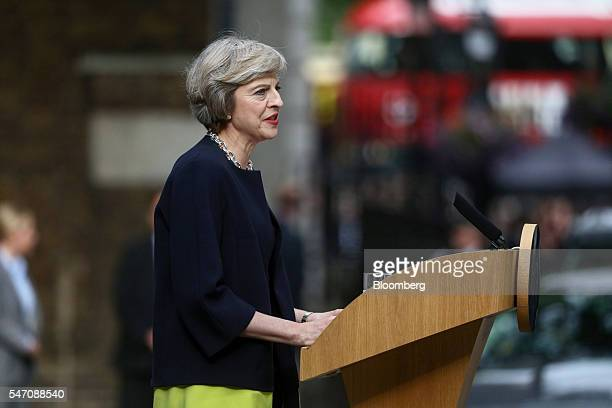 Theresa May UK prime minister delivers a speech outside 10 Downing Street in London UK on Wednesday July 13 2016 May became the UK's second female...