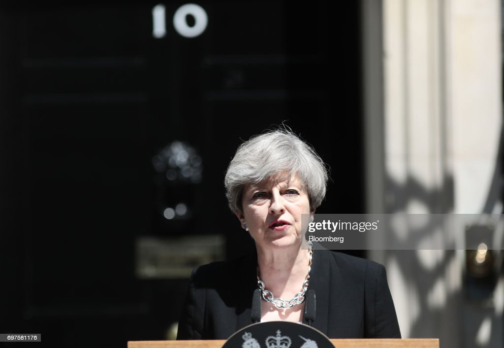 Theresa May, U.K. prime minister, delivers a statement outside number 10 Downing Street, in London, U.K., on Monday, June 19, 2017. U.K. police are treating an incident in which a van plowed into a crowd outside a north London mosque as the third terrorist attack on the capital in as many months. Photographer: Simon Dawson/Bloomberg via Getty Images