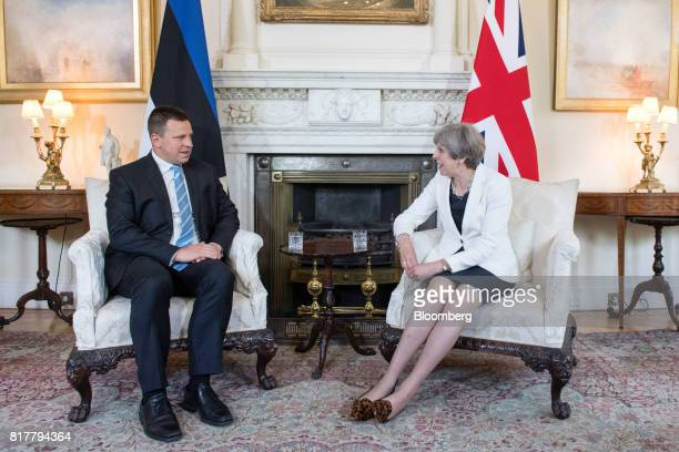 Theresa May UK prime minister left speaks with Juri Rata Estonia's prime minister during their bilateral meeting inside number 10 Downing Street in...