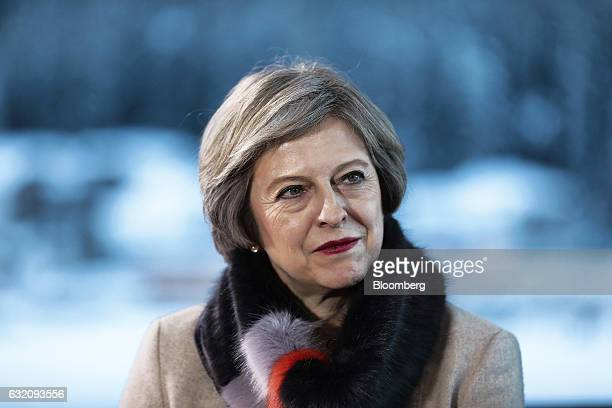 Theresa May UK prime minister looks on during a Bloomberg Television interview at the World Economic Forum in Davos Switzerland on Thursday Jan 19...