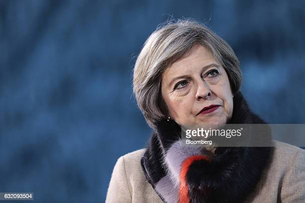 Theresa May UK prime minister pauses during a Bloomberg Television interview at the World Economic Forum in Davos Switzerland on Thursday Jan 19 2017...