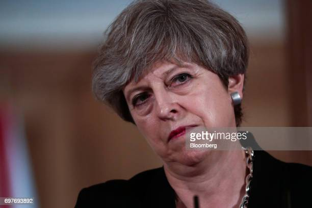 Theresa May UK prime minister pauses during a joint news conference with Leo Varadkar Ireland's prime minister inside number 10 Downing Street in...