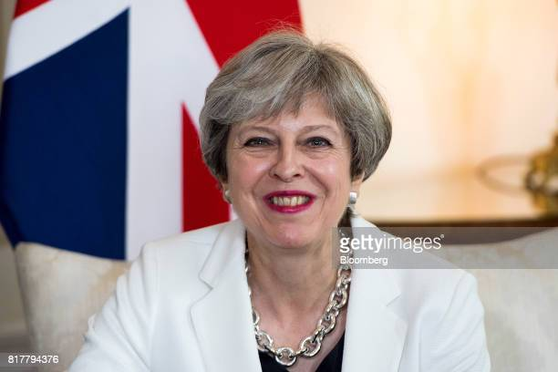 Theresa May UK prime minister reacts during her bilateral meeting with Estonia's Prime Minister Juri Rata inside number 10 Downing Street in London...