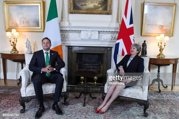 Theresa May UK prime minister right and Leo Varadkar Ireland's prime minister react during their meeting inside number 10 Downing Street in London UK...