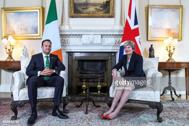 Theresa May UK prime minister right and Leo Varadkar Ireland's prime minister poses for photographers during their meeting inside number 10 Downing...
