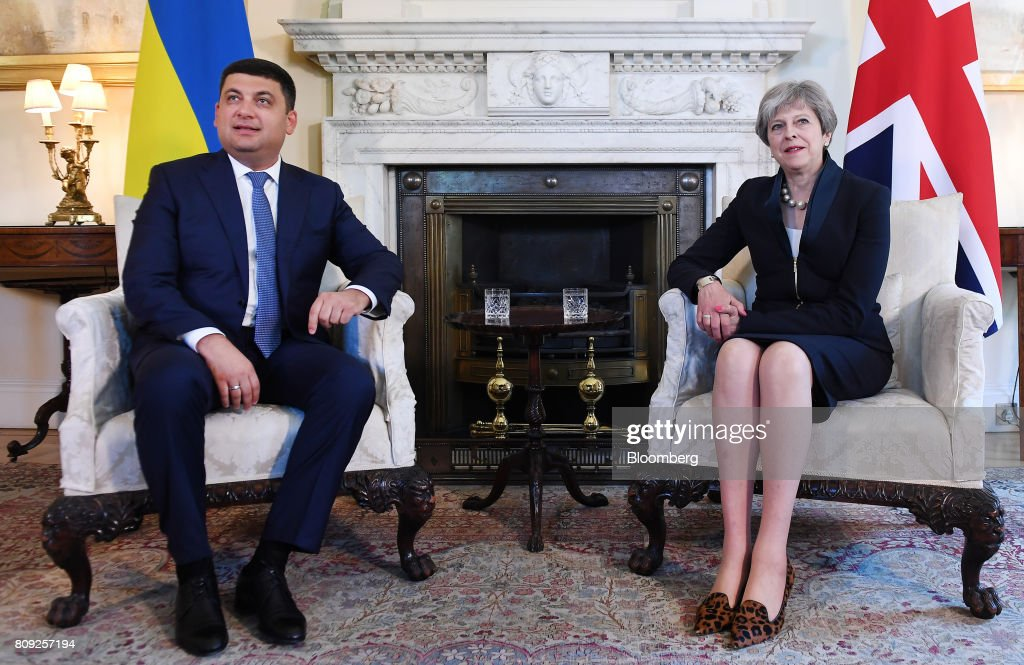 U.K. Prime Minister Theresa May Welcomes Ukraine's Prime Minister Volodymyr Hroisman