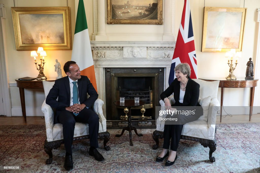 Theresa May, U.K. prime minister, right, speaks to Leo Varadkar, Ireland's prime minister, during their bi-lateral meeting inside number 10 Downing Street in London, U.K., on Monday, June 19, 2017. TheRepublic of Irelandis the Northern Ireland's biggest trading partner outside Britain. Photographer: Simon Dawson/Bloomberg via Getty Images