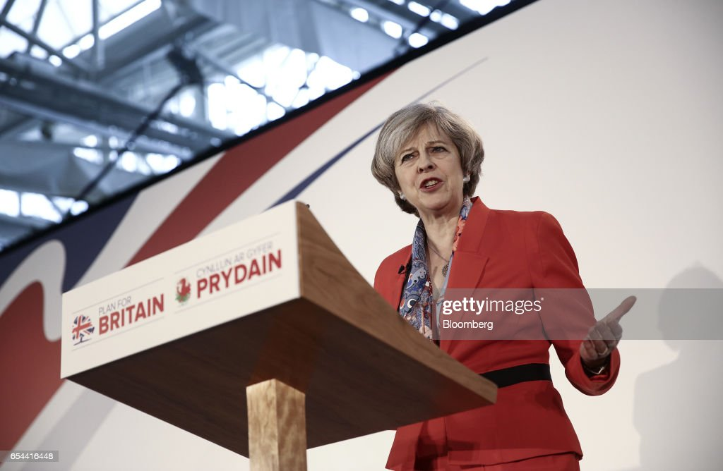 Theresa May, U.K. prime minister, speaks at the Conservative Party's annual Spring Forum in Cardiff, U.K., on Friday, March 17, 2017. May will pledge to forge a closer union within the U.K. in a rebuke to Scottish National Party leader Nicola Sturgeon, who started the week calling for a new independence referendum for Scotland. Photographer: Simon Dawson/Bloomberg via Getty Images