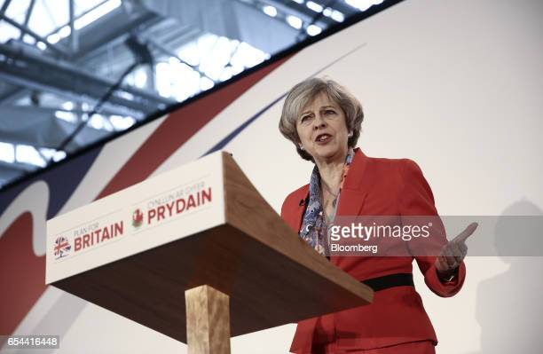 Theresa May UK prime minister speaks at the Conservative Party's annual Spring Forum in Cardiff UK on Friday March 17 2017 May will pledge to forge a...