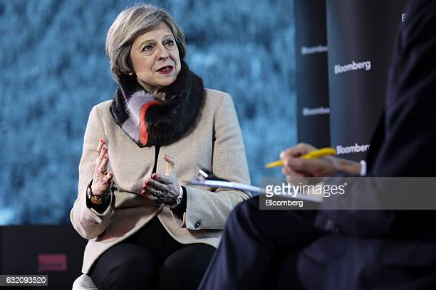 Theresa May UK prime minister speaks during a Bloomberg Television interview at the World Economic Forum in Davos Switzerland on Thursday Jan 19 2017...