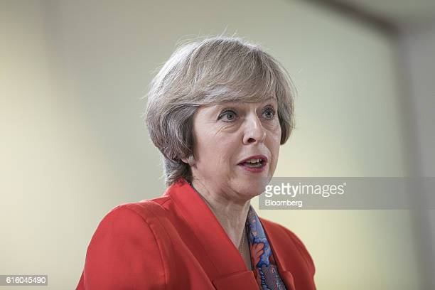 Theresa May UK prime minister speaks during a news conference at a meeting of European Union leaders in Brussels Belgium on Friday Oct 21 2016 The...