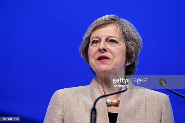 Theresa May UK prime minister speaks during a plenary session at the World Economic Forum annual meeting in Davos Switzerland on Thursday Jan 19 2017...