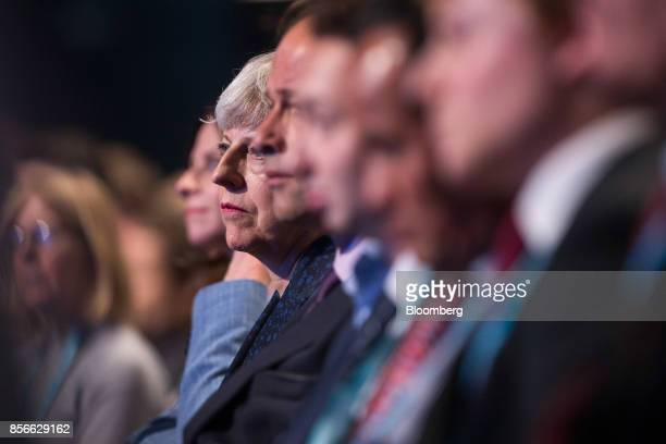 Theresa May UK primer minister attends the speech of UK Chancellor of the Exchequer Philip Hammond at the annual Conservative Party conference in...
