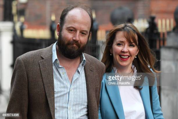 Theresa May's advisers Nick Timothy and Fiona Hill are pictured outside Conservative Party Headquaters on June 9 2017 in London England After a snap...